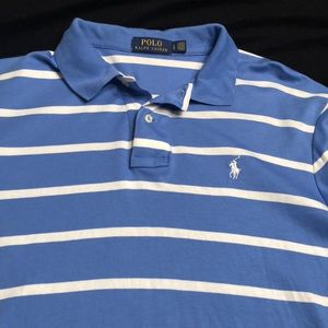 Lite Blue with white stripe Polo shirt!